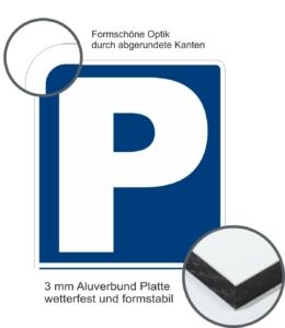 Parkplatzschild aus Aluverbund mit Runden Ecken