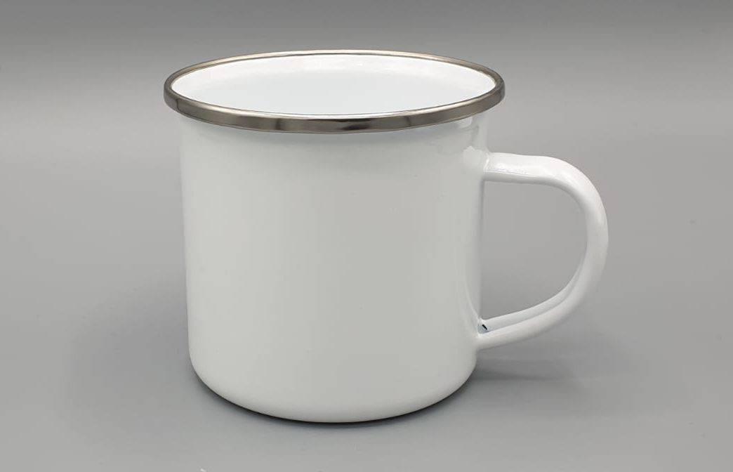 Emaille Tasse weiß mit Silberrand & Wunschmotiv