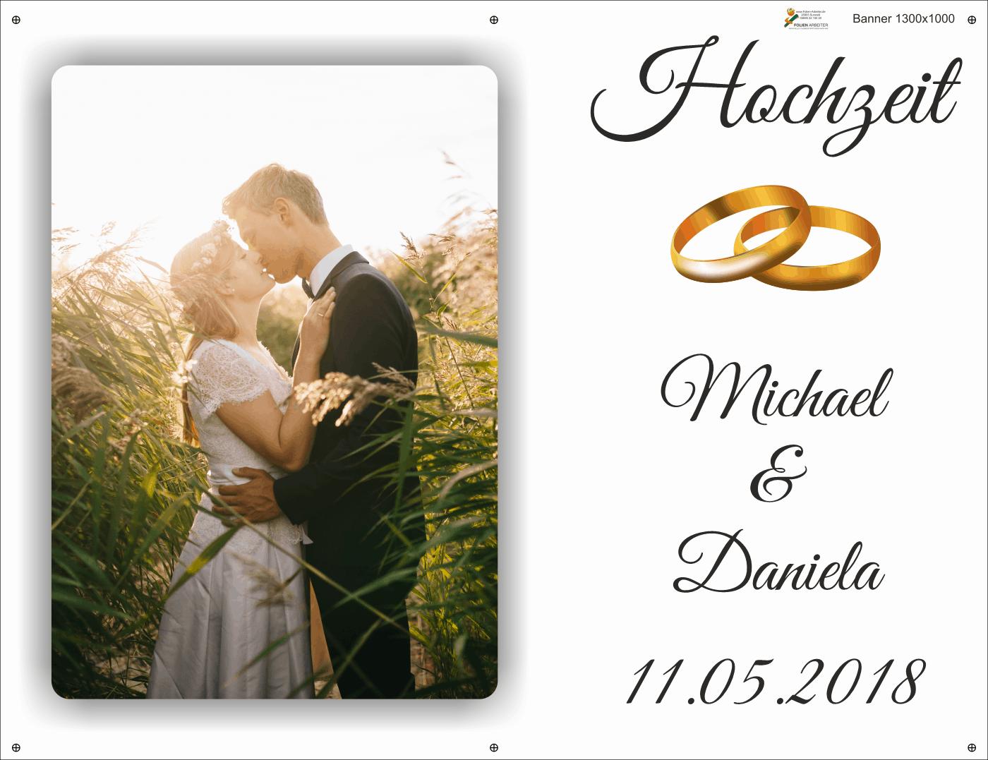 Banner zur Hochzeit Glückwünsche im Großformat