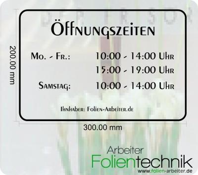 Öffnungzeiten Aufkleber Design OEFF1 für Schaufenster
