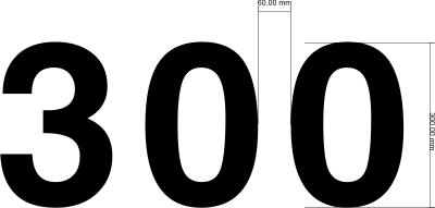 Segelnummer 300mm Font Helvetica