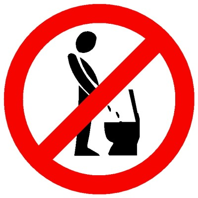 Bitte nicht im Stehen Pinklen Aufkleber Durchmesser 30 cm