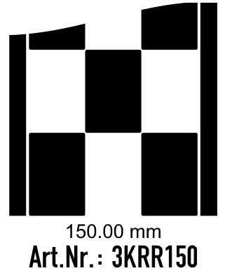 Rennstreifen - Rallystreifen Karomuster - 150 mm breit, je Meter