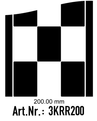 Rennstreifen - Rallystreifen Karomuster - 200 mm breit, je Meter