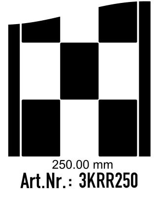 Rennstreifen - Rallystreifen Karomuster - 250 mm breit, je Meter