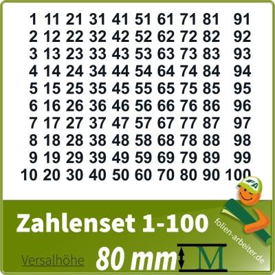 Klebezahlen-Set -1-100-80mm