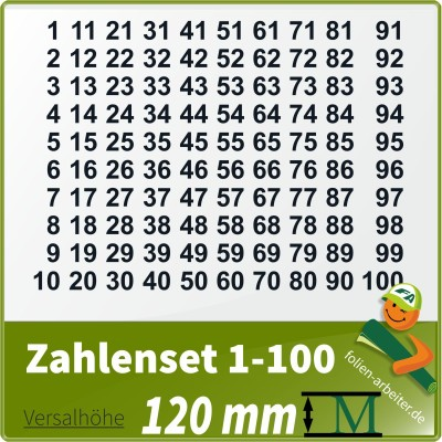 Klebezahlen-Set -1-100 - 120mm