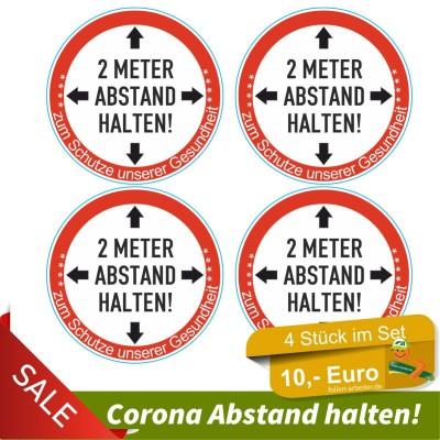 Corona-2 Meter-Abstand halten-Aufkleber 4er Set