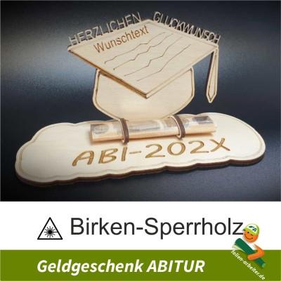Holzschild für Geldgeschenk zum Abitur Personalisierbar