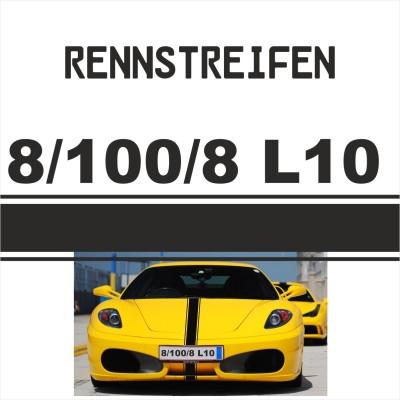 Rennstreifen - Rallystreifen 3-Liner 8-100-8-L10, je Meter