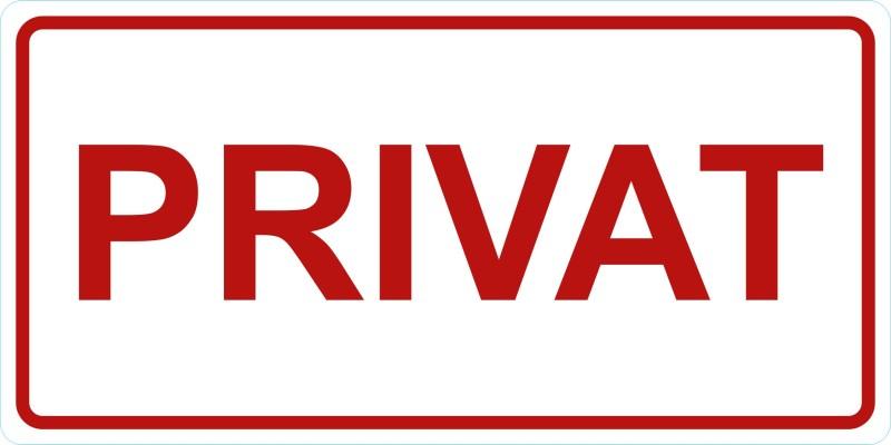 Privat-Türschild-Aufkleber-weißrot