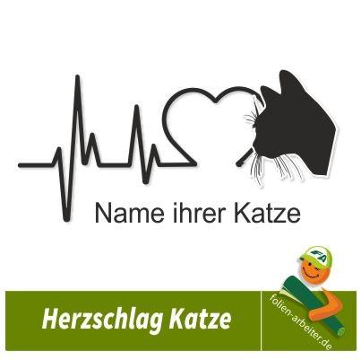 Wandtattoo Herzschlag Linie Katze Auto Aufkleber Herzschlag Katze Frequenz a173