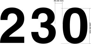 Segelnummer 230mm Font Helvetica