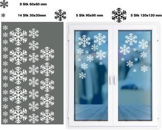Schneeflocken Snowflakes Fenster Deko Aufkleber