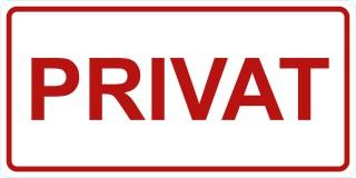 Privat-Türschild-Aufkleber-weiß-rot