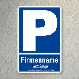 Parkplatzschild mit Firmennamen