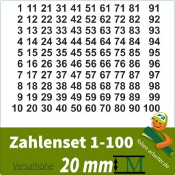 Klebezahlen-Set -1-100-20mm
