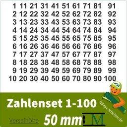 Klebezahlen-Set -1-100-50mm