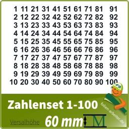 Klebezahlen-Set -1-100-60mm