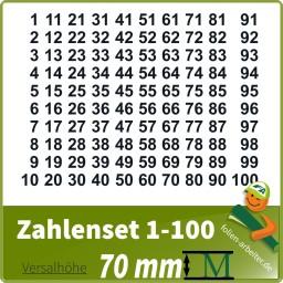 Klebezahlen-Set -1-100-70mm