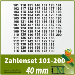 Klebezahlen-Set -101-200-40mm
