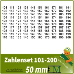 Klebezahlen-Set -101-200-50mm