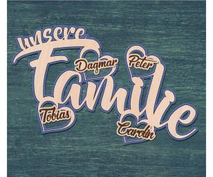 Dekoschild Unsere Familie Color
