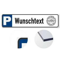 Parkplatzschild mit  Logo Selbst gestalten 500x115mm